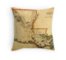 Carey's Map of Louisiana in 1814 Throw Pillow