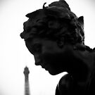 PARIS Statue black and white by WAMTEES