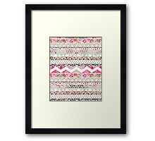 Girly Pink White Floral Abstract Aztec Pattern Framed Print
