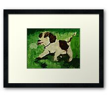 Puppy playing with dandilion, watercolor Framed Print