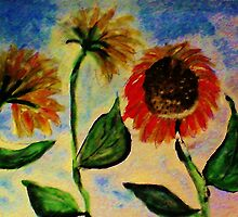 3 sunflowers in the wind, watercolor by Anna  Lewis