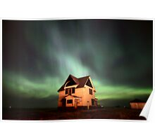 Northern Lights over Saskatchewan farmhouse Poster