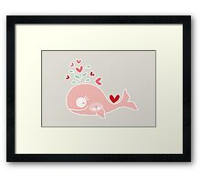 Whimsical Cute Twins Baby Pink Pregnant Whale Framed Print