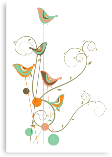 Colorful Whimsical Summer Birds & Swirls 2 by fatfatin
