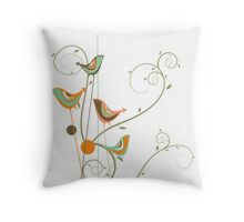 Colorful Whimsical Summer Birds & Swirls 2 Throw Pillow