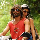 Hippie Couple on Motorbike by ladyogaga