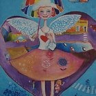 NORA FORA angel with a rainbow umbrella in the heart of my town by kikiBUBBLE