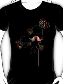 Whimsical Summer Colorful Kissing Birds T-Shirt