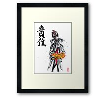 Mass Effect Mordin Sumie style with Japanese Calligraphy Framed Print