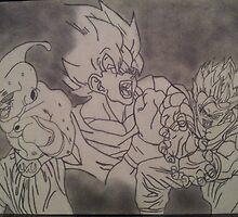 Goku, Gohan and Majin Buu pencil drawing with smoke by spudzuk