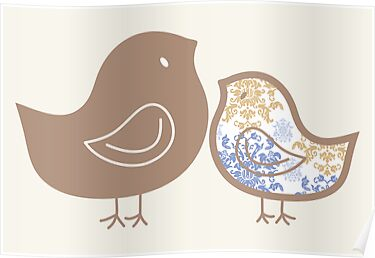 Sweet Damask Blue Chicks by fatfatin