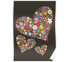 Spring Flowers Valentine Hearts Trio Poster