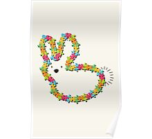 Jigsaw Colorful Bunny (brown nose) Poster