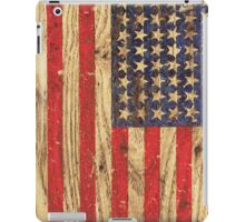 Vintage Patriotic American Flag on Old Wood Grain iPad Case/Skin