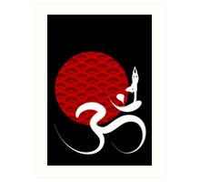 Red Sun, Yoga & Om Art Print