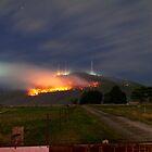 Bush Fires on Mt Dandenong, East Melbourne, Victoria, Australia  by Ben  Cadwallader
