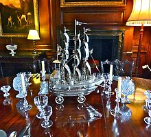 Table with Crystal Glassware by magicaltrails