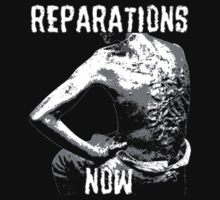 REPARATIONS NOW BATTERED SLAVE BACK SHIRT. (DARK) by ernestbolds