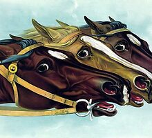 Racing Horse Heads by Tickleart