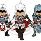 Assassin&#x27;s Creed: Ezio Auditore Chibi Trio by SushiKitteh&#x27;s Creations
