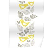 yellow birds vertical illustration Poster