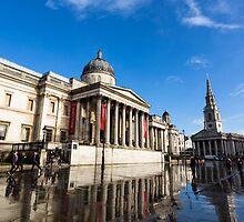 Water reflection after morning storm in Trafalgar Square  by Mattia  Bicchi Photography