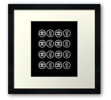 SLR Camera with Flash gun icons_white Framed Print