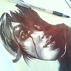 Woman in ball point pen dark realistic by linwatchorn
