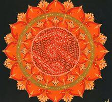 Orange Koru Mandala by Steven Coventry