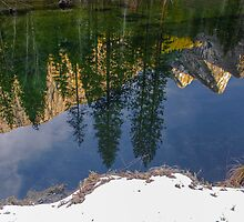 Three Brothers Reflected in the Merced River by photosbyflood