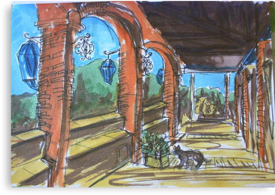 Watercolor Sketch - Sicilian Terrace. 2013 by Igor Pozdnyakov