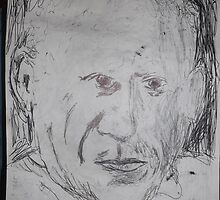 Picasso/copied photo -(110413)- A5 sketchbook/black biro pen  by paulramnora