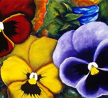 5 Pansies by Jacqueline Eden