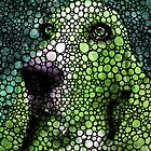 Stone Rock'd Basset Hound Pop Art By Sharon Cummings by Sharon Cummings
