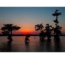 Kayaking at Sunset on Lake Martin, Louisiana Photographic Print