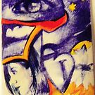 Paint and Pen drawing orange and blue Aceo Comic set up by Kaylin watchorn