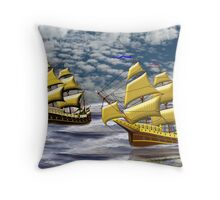 Two Ships of the Line Heading for Battle Throw Pillow
