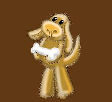 Super Hairy Puppy Dog with a bone by jazzydevil