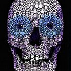 Skull Art - Day Of The Dead 2 Stone Rock'd by Sharon Cummings