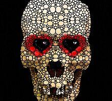 Skull Art - Day Of The Dead 3 Stone Rock'd by Sharon Cummings