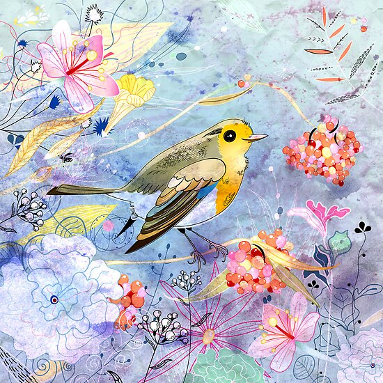 bird and flowers by Tanor