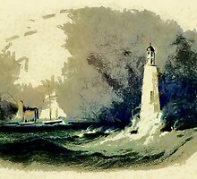 Cleveland Lighthouse on Lake Erie from an aquatint by Karl Bodmer 19th century by Dennis Melling