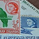 Queen Elizabeth Stamp Collage Macro Photograph by DrBillCreations