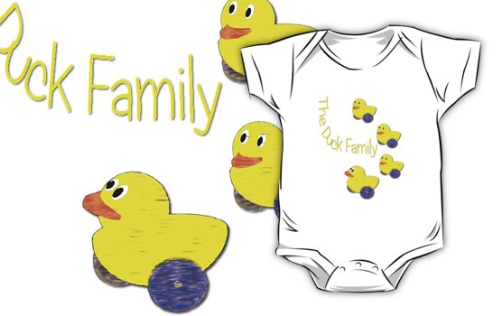 The Duck Family T-shirt by Dennis Melling