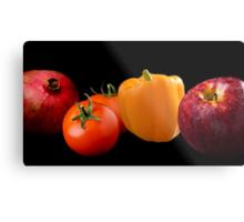 Fruit and Veggie on Black Composite Metal Print