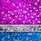 Hot Pink and Blue Purple Glitter Bling Jewel Diamond Pearls by rozine