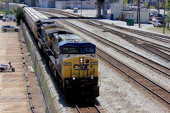 Train Entering Union Station Railroad Yards - Nashville, Tennessee, USA by aprilann