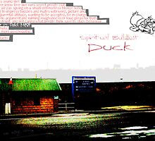 Vaguely A Huge Grey Liner Silhouetted Against The Rail Line With Commentary And D. Duck by Robert Phillips
