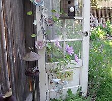 LONE DOOR IN BACKYARD GARDEN GREETING CARD by dagokid