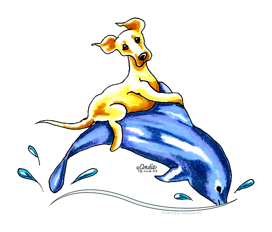Yellow Lab Dolphin Ride by offleashart